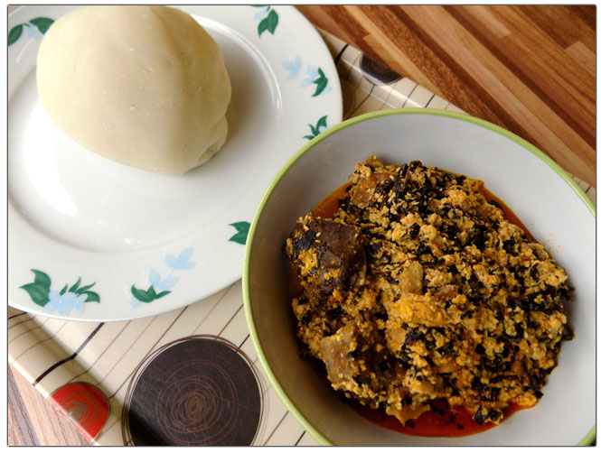 Eba and egusi soup